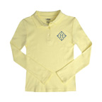 French Toast Girls Long Sleeve Picot Polo Shirt-Embroidered