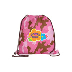 Full Color Non-Woven Camo Drawstring Backpack