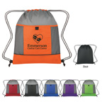 Honeycomb Ripstop Drawstring Bag With Gray Trim