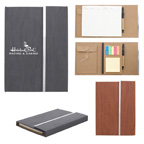 Woodgrain Padfolio with Sticky Notes and Flags