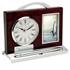 Wood and Aluminum Clock Photo Frame  Desk Set
