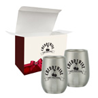 9 Oz Stemless Wine Glass Set In Custom Box