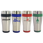 16 Oz. Stainless Steel Travel Tumbler with Plastic Interior and Slide Close Lid